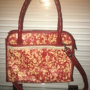 leather satchel/crossbody with ruffle & lace NWOT